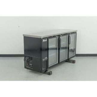 "Reconditioned Migali C-BB72G-HC 72"" 3-Glass Door Black Vinyl Back Bar Cooler"