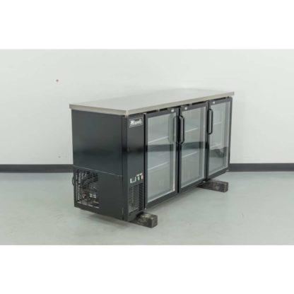 "Reconditioned Migali C-BB72G-HC 72"" 3-Glass Door Black Vinyl Back Bar Cooler"