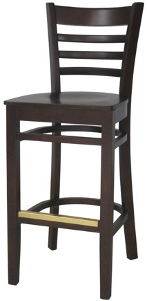 EC4 Walnut Horizontal Wood Ladder Back Stool