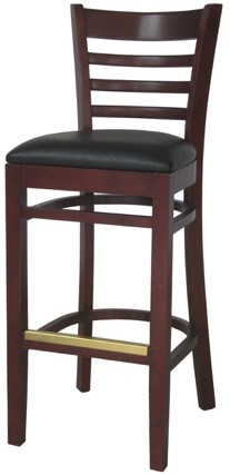 EC7 Mahogany Horizontal Wood Ladder Back Stool