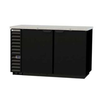 "Beverage-Air BB58HC-1-B 59"" 2-Door Black Steel Back Bar Cooler"