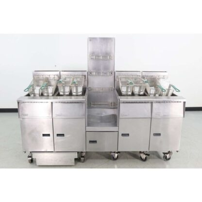 "Pitco SGH50 78"" Gas 4 Vat Fryer Station w/Center Staging Area"