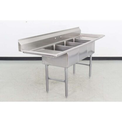 "Stainless Steel 84"" 3 Compartment Sink w/16-1/2"" Drainboards"