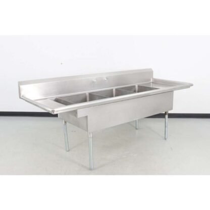 "Stainless Steel 96"" 3 Compartment Sink w/Drainboards"