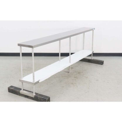 "BK Resources BK-OSD-1296 96"" Stainless Steel Table Mounted Double Overshelf"