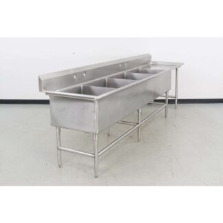 "Stainless Steel 126"" 4 Compartment Sink w/25"" Right Drainboard"