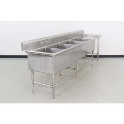 """Stainless Steel 126"""" 4 Compartment Sink w/25"""" Right Drainboard"""
