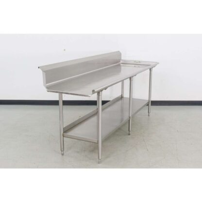 "Stainless Steel 96"" Clean Straight Dish Table"