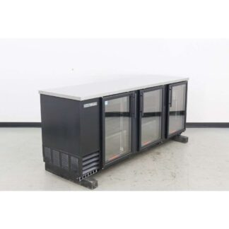 "True TBB-4G-HC-LD 90"" 3 Glass Door Black Vinyl Back Bar Cooler"